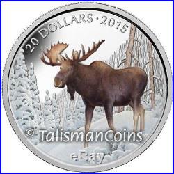 Canada 2015 Iconic Animals Majestic Bull Moose $20 Pure 1 Oz Silver Color Proof