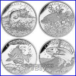 Canada 2015 Sportfish North America 4 Coin $20 Silver Proof Set Edge Lettering