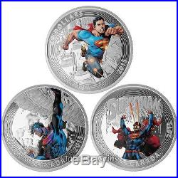 Canada 2015 Superman Iconic Comic Book Cover Art 3 Coin Proof Set $20 Silver