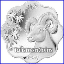 Canada 2015 Year of Sheep Ram Goat Lunar Zodiac $15 Lotus Shaped Silver Proof