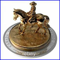 Canada 2020 100$ 10 oz Pure Silver Gold-Plated Sculpture Coin RCMP Musical RIDE