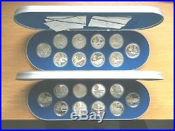 Canada Aviation Proof Coins Both Sets I & 2 Silver with Gold Cameos