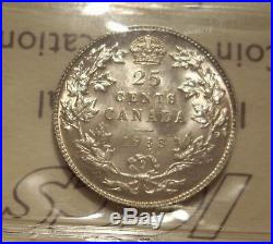 Canada George V 1933 Double 1933 Silver 25 Cent ICCS MS-64 (XJH-782)