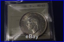 Canada Silver dollar 1938 ICCS MS-63