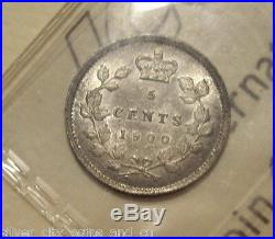 Canada Victoria 1900 Oval 0 Silver Five Cents ICCS MS-60