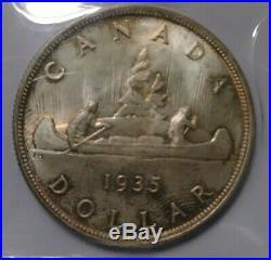 Canadian 1935 Silver Dollar Iccs Ms 66 Original Tone