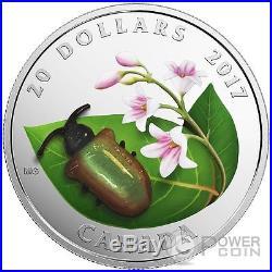 DOGBANE BEETLE Little Creatures Venetian Murano 1 Oz Silver Coin 20$ Canada 2017