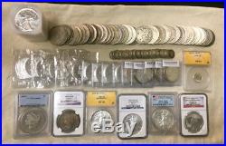 Huge Us & Canada Bullion & Silver Dollar Lot Eagle Maple Leaf Morgan 90% Ngc