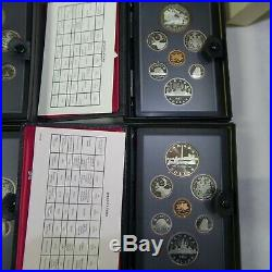 Lot Of 12 Canada Double Dollar Proof Sets 1973-1984 Each Set Has A Silver Dollar