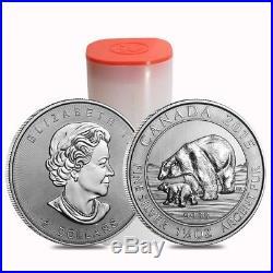 Lot of 5 2015 1.5 oz Canadian Silver Polar Bear and Cub $8 Coin. 9999 Fine BU