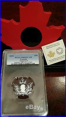 POP 18! 2015 Canada $20 1 oz Proof Silver Maple Leaf Shape PCGS PR69DCAM