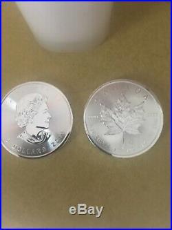 Roll/Tube of 25 2015 Canada 1 Oz $5 Silver Maple Leaf Coin. 9999 Fine Gem BU