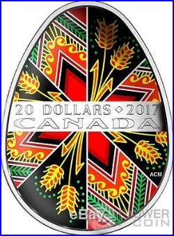 TRADITIONAL UKRAINIAN PYSANKA Easter Egg Shape Silver Coin 20$ Canada 2017