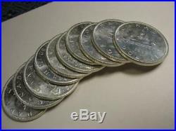Ten uncirculated 1962 Canada silver dollar coins 6 oz pure silver