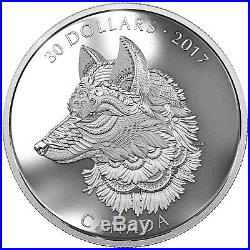 The Great Grey Wolf 2 oz Proof Silver Coin Zentangle Art Canada 2017