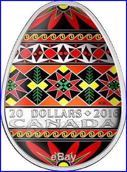 UKRAINIAN PYSANKA Easter Colored Egg Folk Art 1 Oz Silver Coin 20$ Canada 2016