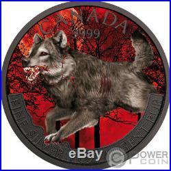 WOLF Mad Animals Ruthenium 1 Oz Silver Coin 5$ Canada 2018