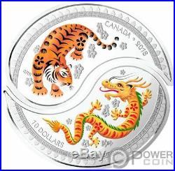 YIN YANG Tiger Dragon Set 2 Silver Coins 10$ Canada 2018